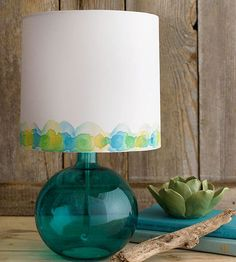 LIGHT WAVES >> Add a splash to a plain white lampshade. Moisten a large paintbrush with water, and sweep a wavelike pattern around the bottom of the shade. Tap wet paint into the pattern with a soft round watercolor brush. (Use watercolor paint for paper lampshades and fabric paint for fabric shades.) The paint will bleed to the edges of the moistened area. After the paint dries, dot the wave with more paint in alternating colors. For dots that blend, paint them with edges touching…