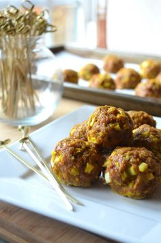 turkey meatballs with curry spices and fresh apple from the blog Karista's Kitchen