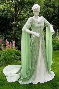 Loooooove the sage color with the chiffon... reminds me of Arwen's Coronation gown.