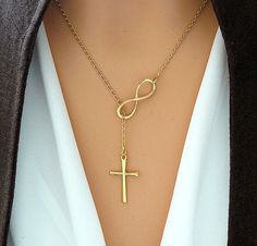 ORO de la Cruz y collar del infinito infinito Vermeil oro