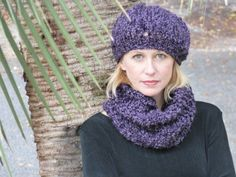Ladies Knit Purple Hat and Scarf by lovemyknits on Etsy