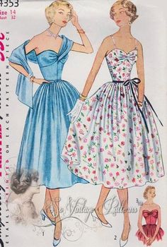 Simplicity 4353 50s dress party cocktail floral blue sweetheart bust full skirt shoulder wrap attached to front bust color photo print ad models pattern illustration