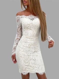 White Lace Details Off The Shoulder Long Sleeves Bodycon Dress #bodycondresslongsleeve