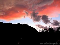 Valmosca fraction of Campiglia Cervo (Biella, Italy): Clouds and mountains at darkening