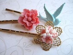 Pastel flower bobby pins, bluebird | pink hair flowers, gold plated hair pins