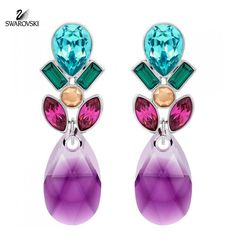 Swarovski Color Crystal Pierced Earrings CARDINAL Rhodium #5143514
