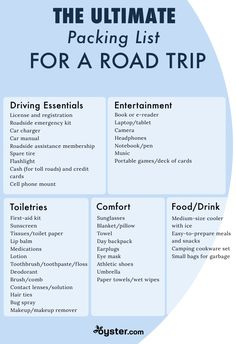 Road Trip Essentials: Road Trip Packing List - Before you hop in your car, consult our ultimate road trip packing list to make sure you have everything for a comfortable, safe, and stress-free drive. Road Trip Checklist, Travel Packing Checklist, Road Trip Packing List, Packing List Beach, Road Trip Essentials, Vacation Packing, Road Trip Tips, Packing Lists, Road Trip On A Budget