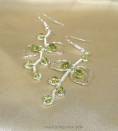 Wire wrapped vines and leaves with green glass beads Wire Work, Wire Wrapped Jewelry, Wire Wrapping, Vines, Glass Beads, Leaves, Drop Earrings, Green, Drop Earring