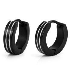 Unique Black Matrix Stainless Steel Hoop Earrings for Men | RnBJewellery
