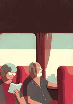 Cute illustration project depicts an elderly couple exploring the city. Davide Bonazzi: Day Trippers