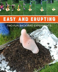 Make these two simple exploding experiments for some gooey, summer fun! Craft Activities For Kids, Science Activities, Outdoor Activities, Crafts For Kids, Science Fun, Summer Fun, Summer Ideas, Math Stem, Cool Kids