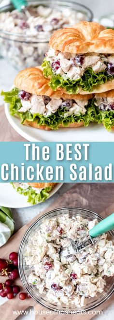 This easy, classic Chicken Salad recipe with grapes and sliced almonds is the best I've ever had and makes the most amazing sandwich on a croissant ever.  Perfect for a graduation parties, a ladies luncheon, brunches, bridal or wedding showers, baptisms, and pretty much any event you can think of! #chicken #sandwich #salad #chickensalad #grapes #almonds #pecans #apples #croissants #lunch #dinner #summer #easy #rotisserie #healthy #classic #celery #homemade #recipe