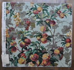 Designer Schumacher Fabric - Fruit Floral Linen Fabric - High End Fabric Sample - Fabric Remnant on Etsy, $15.00