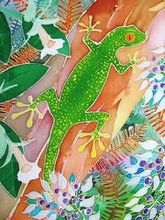 Colourful gecko giclee print by SarahWisemanArt on Etsy