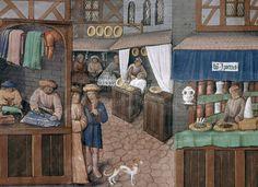 Livre du gouvernement des Princes. Cette vue d'une rue au début du XVIème siècle est extraite du Livre du gouvernement des Princes (Folio 149 verso). Une lecture passionnante et ludique de cette miniature est proposée sur le site de la BnF. Romain Gilles