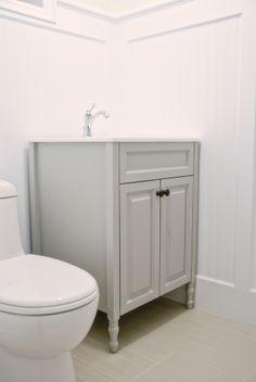 bm coventray gray - laundry room cabinets {Rambling Renovators: The Basement: A Painted Vanity}