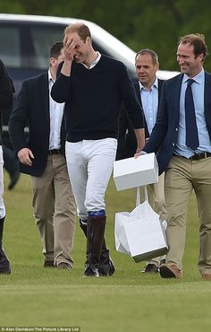 Princes William and Harry horsing around at star-studded polo event #dailymail