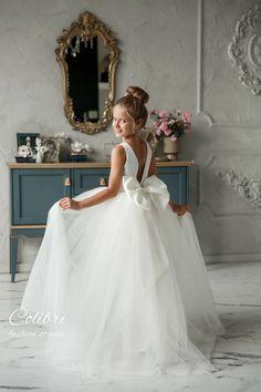 Ivory satin tulle flower girl dresses Toddler baby first | Etsy