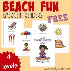 Going to the Beach soon? Grab these SUPER CUTE Beach Emergent Readers to help your kids recognize some new words! 4 levels :: www.inallyoudo.net