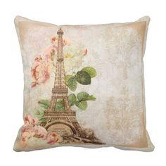 Paris Pink Rose Vintage Romantic Pillow Vintage Paris, Vintage Roses, European Home Decor, Shabby Chic Bedrooms, Paris Theme, Custom Pillows, Tapestry, Romantic, Throw Pillows