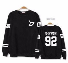 Block B Korean kpop U-Kwon Longsleeve sweatshirt fashion trendy bboy hip hop kanye west SQ12017 Black