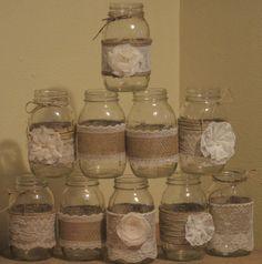 Burlap Mason Jar Centerpieces Wedding Centerpieces Rustic
