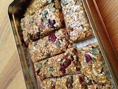 Home made muesli bars - recipe Annabel Langbein Kiwi Recipes, Snack Recipes, Cooking Recipes, Muesli Bars, Good Food, Yummy Food, Healthy Sweets, Healthy Snacks, No Bake Bars