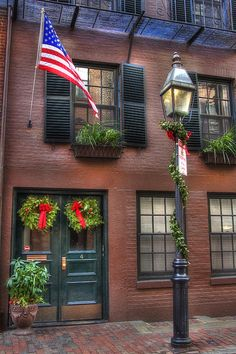 Beacon Hill....Boston Red Brick Exteriors, House Exteriors, Beacon Hill Boston, A Lovely Journey, Brick Sidewalk, Boston Public Garden, Gas Lights, Red Bricks, Red Brick Houses