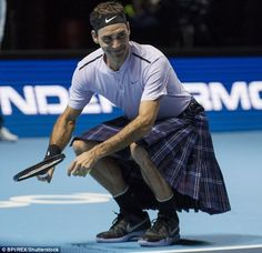 Roger Federer edges out Andy Murray on his return from injury in exhibition match... and even wins a game in a kilt!