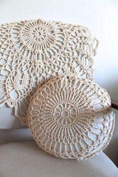 Crochet Pillow and Matching Chunky Doily by creativecarmelina