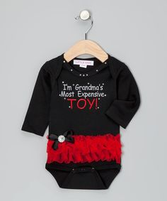 I know a few Grandma's that would love this. Black & Red 'Toy' Ruffle Bodysuit - Infant