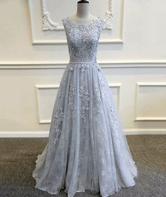 Custom made round neck tulle lace long prom dress, bridesmaid dress