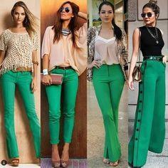 Tem uma calça verde e não sabe como usar? Inspirações pra você tirar ela do armário!!💚💚💚 . . #trabalhoestilo #calcaverde #modafeminina…