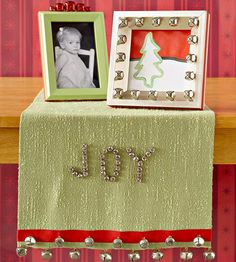 Simple Holiday Frames    http://www.bhg.com/christmas/crafts/simple-holiday-frames/    http://www.bhg.com/christmas/crafts/christmas-jingle-bell-table-runner/