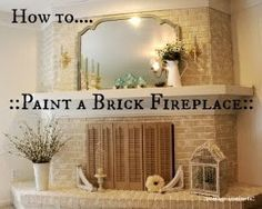 how to paint a brick fireplace with satin latex paint (she did an AMAZING job!)