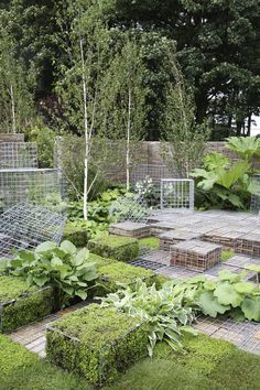 Landscaping With Wire Mesh Crates. I am  making a green bench!!