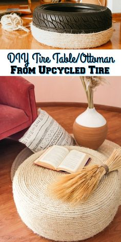 Think twice before you toss those old tires! I will show you how to make this DIY tire table / tire ottoman! Super easy to do too.