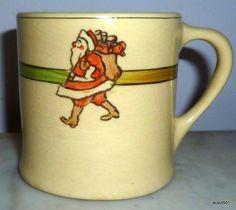 Vintage 1920s Roseville Pottery Juvenile Santa Clause Christmas Mug ...