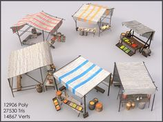 Medieval Fair, Medieval Market, Medieval Houses, Minecraft Market, Minecraft Medieval Castle, Food Cart Design, Market Stalls, Outdoor Furniture Sets, Outdoor Decor