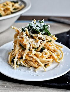 Sweet Potato Pasta with Crispy Kale on How Sweet It Is, fall, fall pasta, autumn, autumn pasta, kale, sweet potato, sweet potato pasta, sweet potato pasta with crispy kale