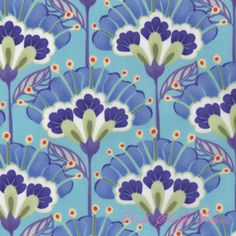 Kate Spain Good Fortune Lantern Flower Aqua - COATED sort of a relaxed contemporary William Morris look