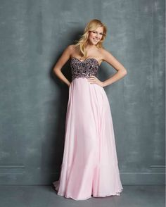 Cheap Sweetheart Embroidered Pink Long Chiffon Full-Length Evening Dress Free Measurement