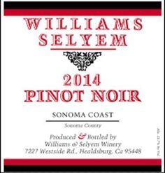 2014 Williams Selyem Pinot Noir Sonoma Coast