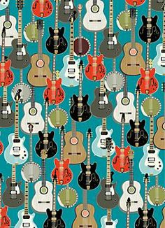 Super cute for Owen, ya know, since dad is a rock start and all! Guitars Wrapping Paper - Roll Wrap - Paper Source--Frame wrapping paper, matte finish obviously. The background color of this one happens to match his quilt! Guitar Patterns, Fabric Patterns, Print Patterns, Paper Background, Background Patterns, Guitar Art, Paper Source, Printable Paper, Free Printable