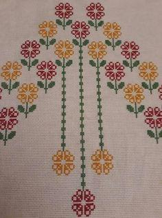 Cross Stitch Borders, Cross Stitch Flowers, Cross Stitch Designs, Cross Stitch Patterns, Easy Crochet Patterns, Baby Knitting Patterns, Crochet Stitches, Bordados E Cia, Palestinian Embroidery