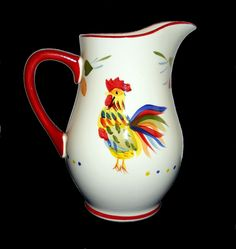 """Ceramic Pitcher Nobel Rooster 8.5"""" Tall Colorful Holds 60 Ounces NEW #DiningStyle - Now, I'm a bluthering idiot.  This would be perfect in my kitchen.  My kitchen..... I WANT bad."""