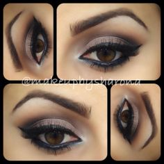 bBase: Painterly Paint Pot  Under brows: Mylar  Crease (use a fluffy brush such as a Mac 224 to take this color high up above the crease): Soft Brown and Brown Script  Crease (heavy in the outside corner): Handwritten and a tiny bit of Carbon  Lid: Satin Taupe  Inside corner of eye: Phloof