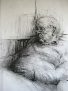 Watching the News, 2010. Charcoal on paper. 150 x 105 cm (ginny grayson)