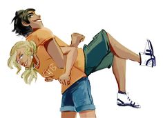 Percy and Annabeth enjoying their time at camp because not everything is a near death experience.(annabeth is damn strong, the girl have been at camp climbing walls and sparring like …forever)