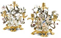 A pair of gilt-bronze-and Meissen porcelain-mounted candelabra Louis XV, mid 18th century.